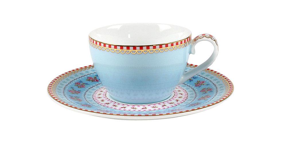 Xícara de Cafezinho Azul - Floral