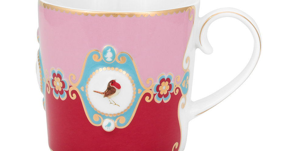 Caneca Pequena Medallion Rosa/Vermelho - Love Birds