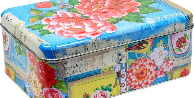 caixa lata grande marca holandesa floral