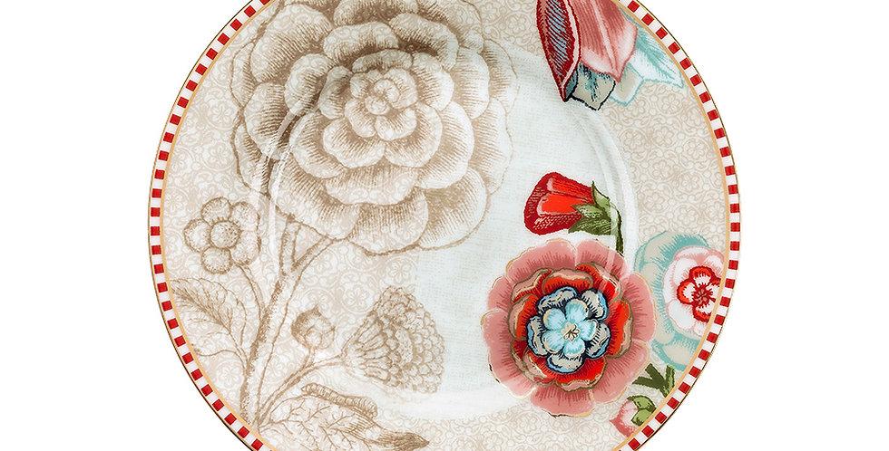Mini pratinho petit four com flores decoradas porcelana mesa posta