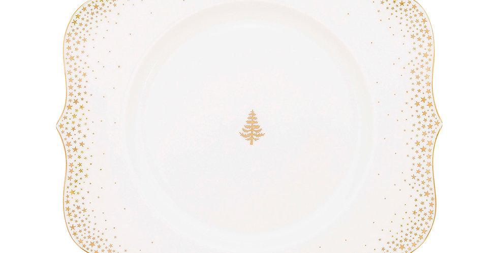 Prato Sobremesa Mesa Posta Natal Dourado Decoração Holandesa