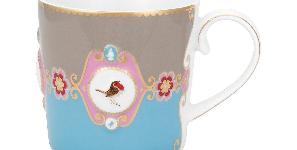 Caneca Pequena Medallion Azul/Cáqui - Love Birds