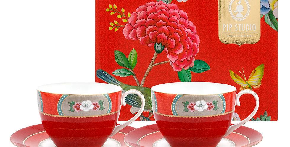 Set/2 Xícara de Chá Vermelho - Blushing Birds