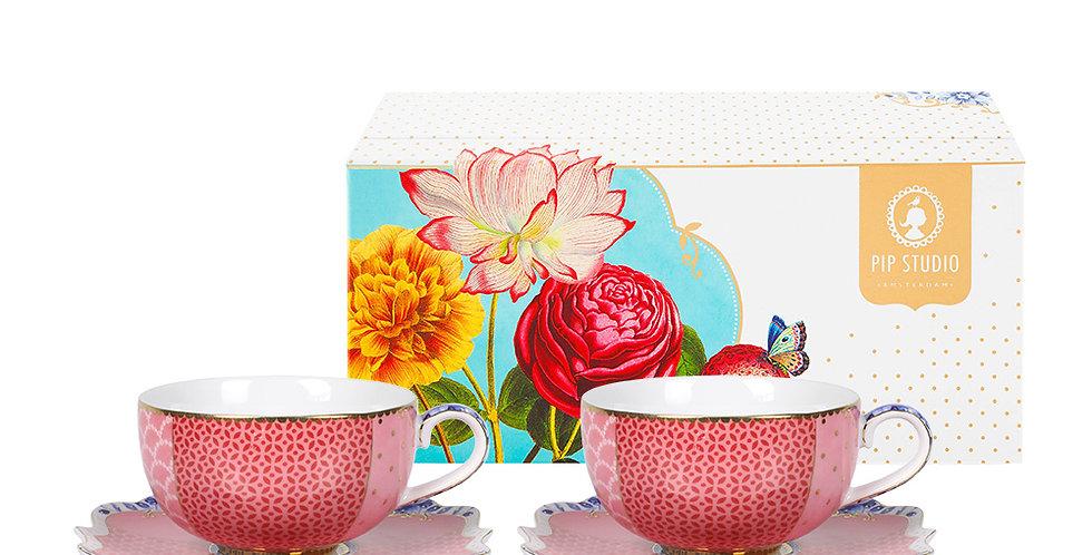 Set com duas xícaras de cafézinho rosa porcelana holandesa