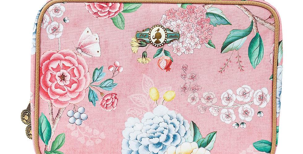 Nécessaire Grande Rosa divisórias estampada flores decoração