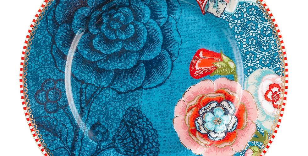 Prato Pão Porcelana Azul Spring to Life Louça