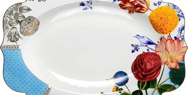 Travessa Oval Royal Porcelana Decorada Flores