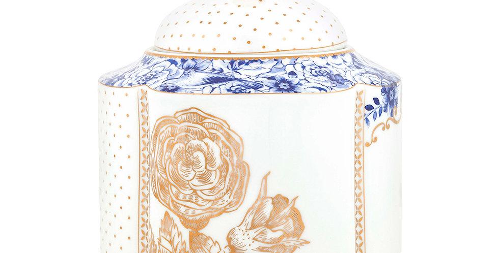 Pote pequeno de porcelana com detalhes na decoração