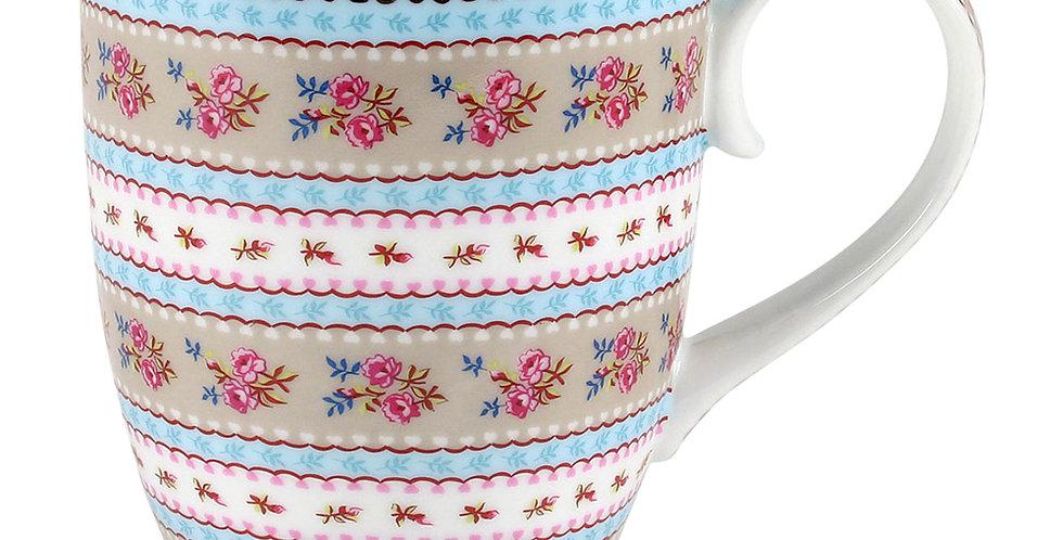 Caneca Grande Ribbon Cáqui - Floral