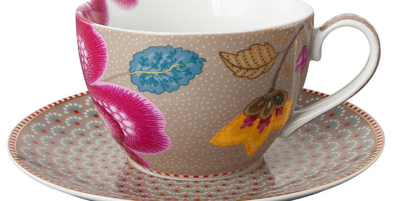 Xícara Chá Floral Fantasy Porcelana Holandesa
