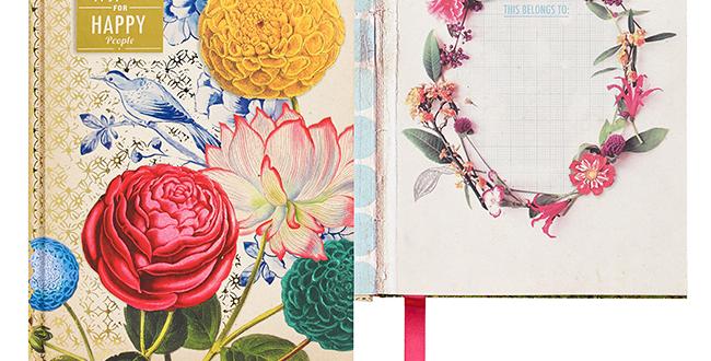 Caderno A5 aula papelaria floral