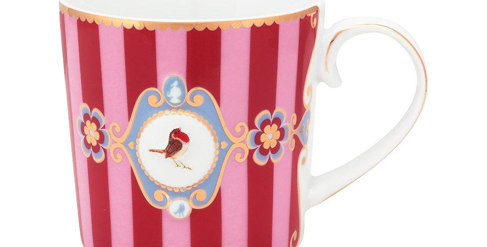 Caneca Pequena Medallion Stripes Rosa/Vermelho - Love Birds