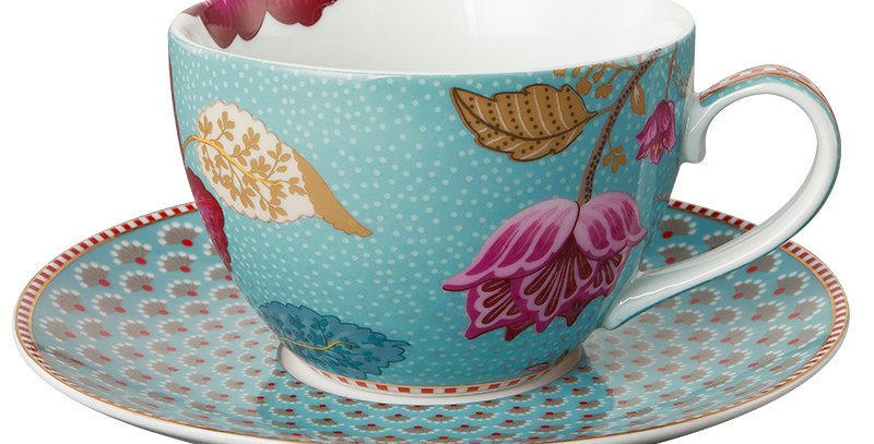 Xícara Chá Azul Floral Fantasy