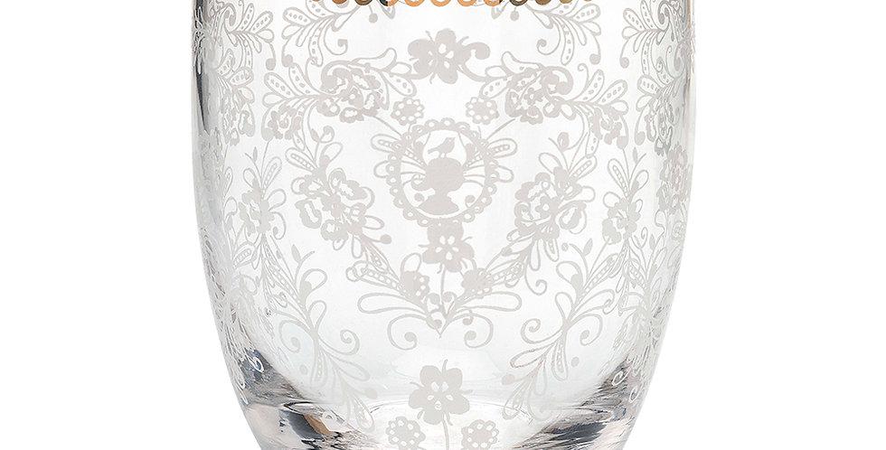 copo para água vidro floral desenhado decorado