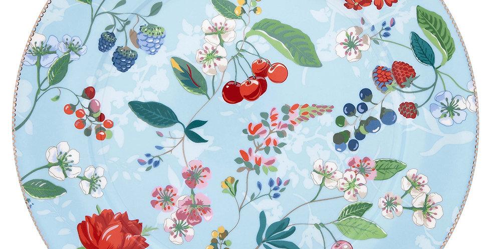 Prato sousplat porcelana holandesa azul decorado flores