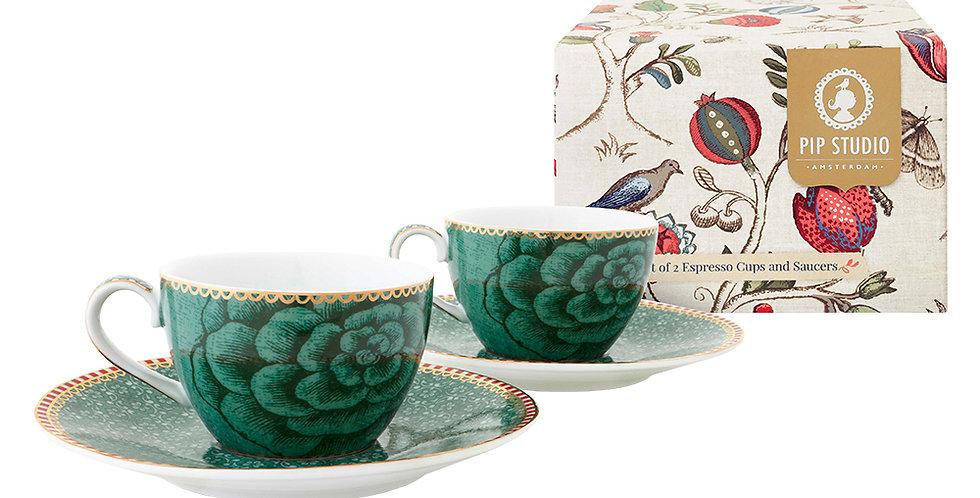 Set Presente Xícara Cafézinho Verde Porcelana Holandesa