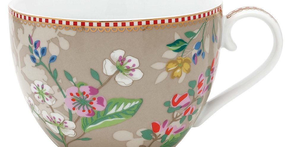 Xícara Extra Grande Cáqui Decoração Flores Porcelana
