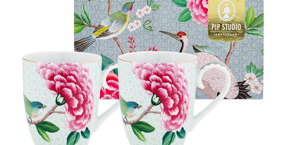 Set/2 Caneca Grande Branca - Blushing Birds