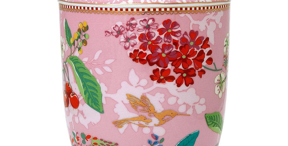 Pote Rosa Floral Grande Porcelana Decorada Flores