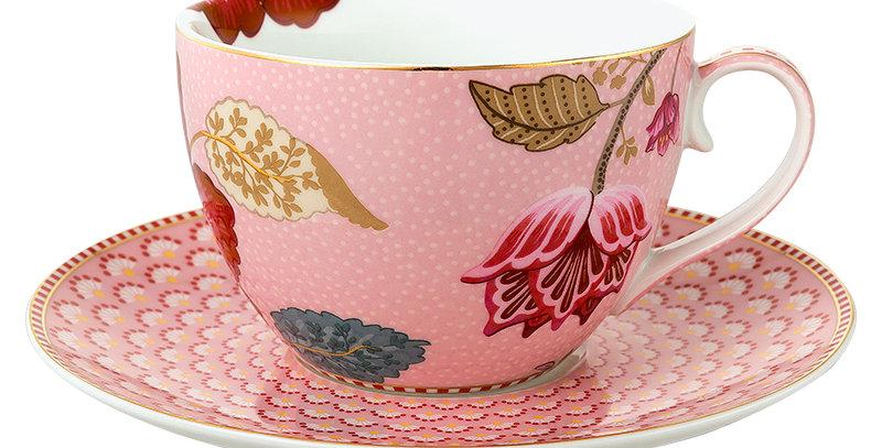 Xícara Chá Rosa Floral Fantasy