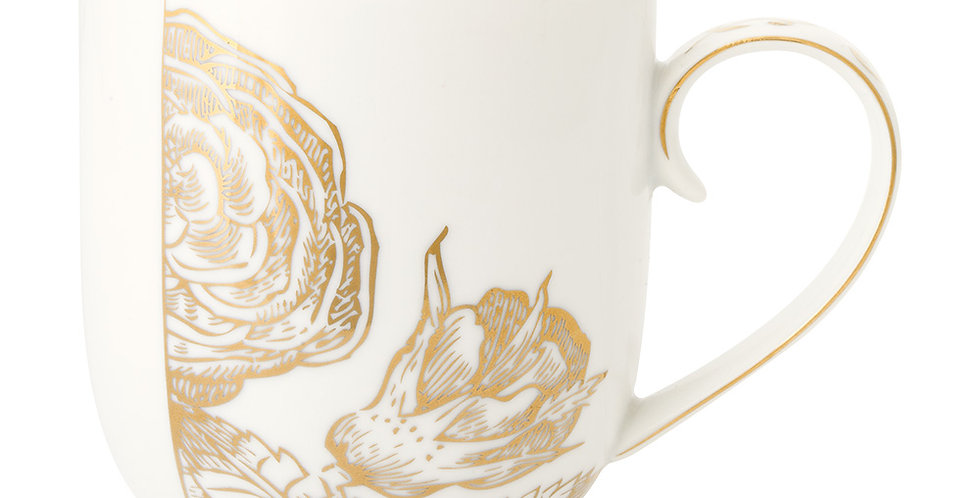 Caneca Grande Golden Flower - Royal White