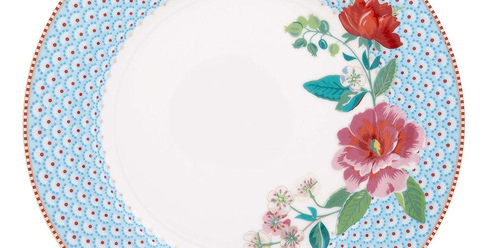 Prato de Jantar Rose Azul Decorado Flores