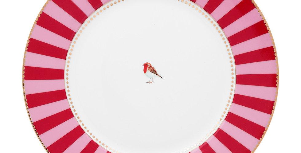 Prato de Jantar Vermelho Stripes -Love Birds
