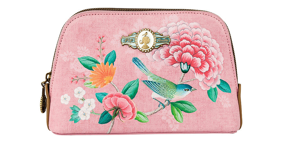 Nécessaire rosa pequena decorada passarinho flores pip studio