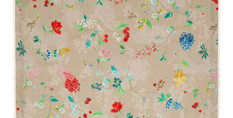 Toalha de chá cáqui com decoração flores pip studio