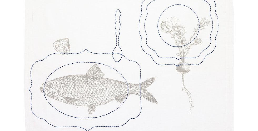 Toalha de chá bordada peixe pip studio