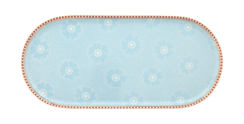 Travessa Pequena Azul Floral Delicada Porcelana