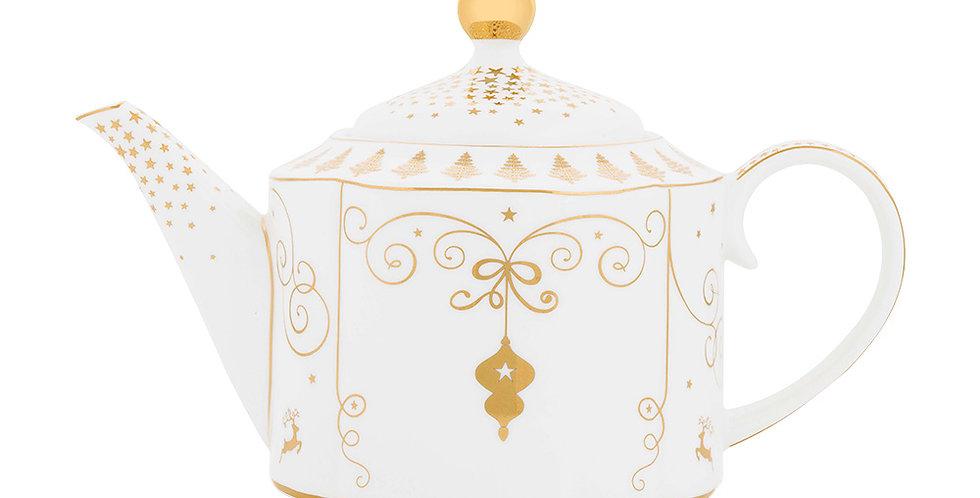 Bule Porcelana Dourado Ouro Decoração Natalina