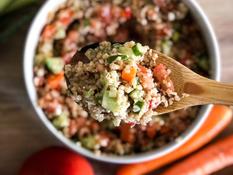 Ταμπουλέ σαλάτα με λαχανικά και σως μουστάρδας-μελιού