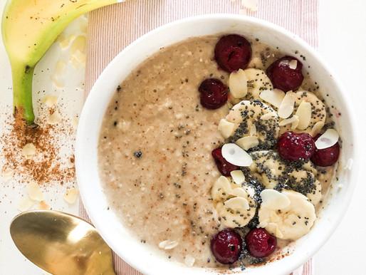Porridge με γάλα αμυγδάλου, βανίλια & βύσσινο
