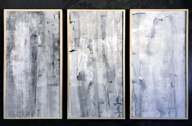 "UNTITLED TRIPTYCH ACRYLIC ON YUPO 25 X 48 "" FRAMED IN OAK"