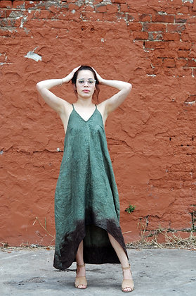 EMERALD GREEN TO BRONZE DIP DYED LINEN DRESS