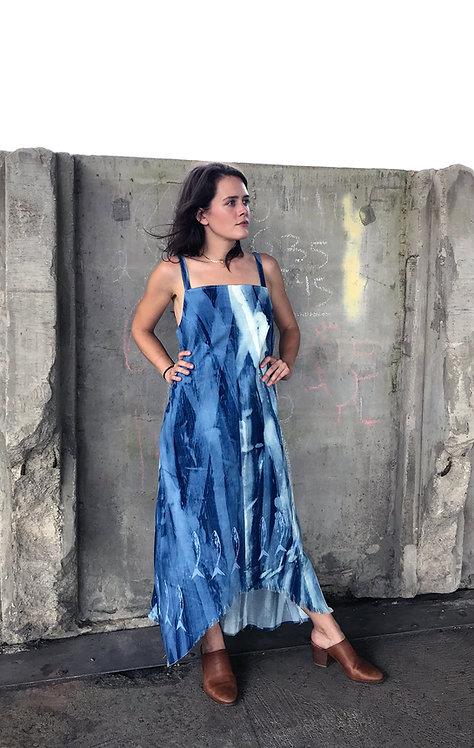 PAINTED BLUE DENIM SARDINE DRESS