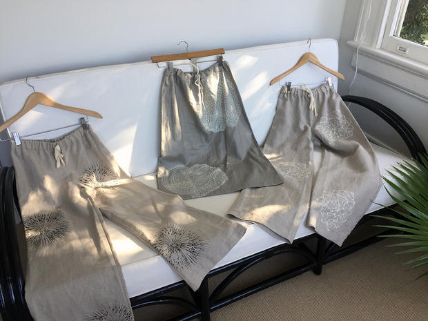 Printed linen pants