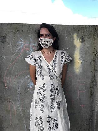 WHITE LINEN WRAP DRESS