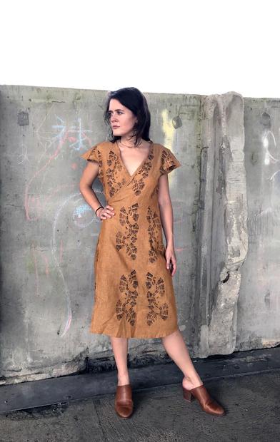 ochre linen wrap dress