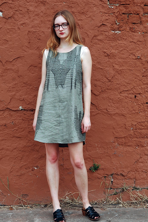 GREEN LINEN WOVEN DRESS