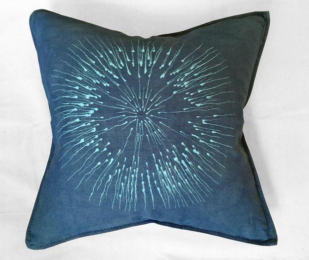 dark blue sea urchin pillow
