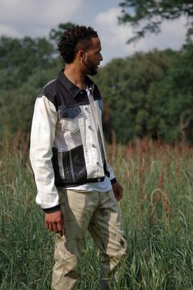 black and white pickstitch jacket