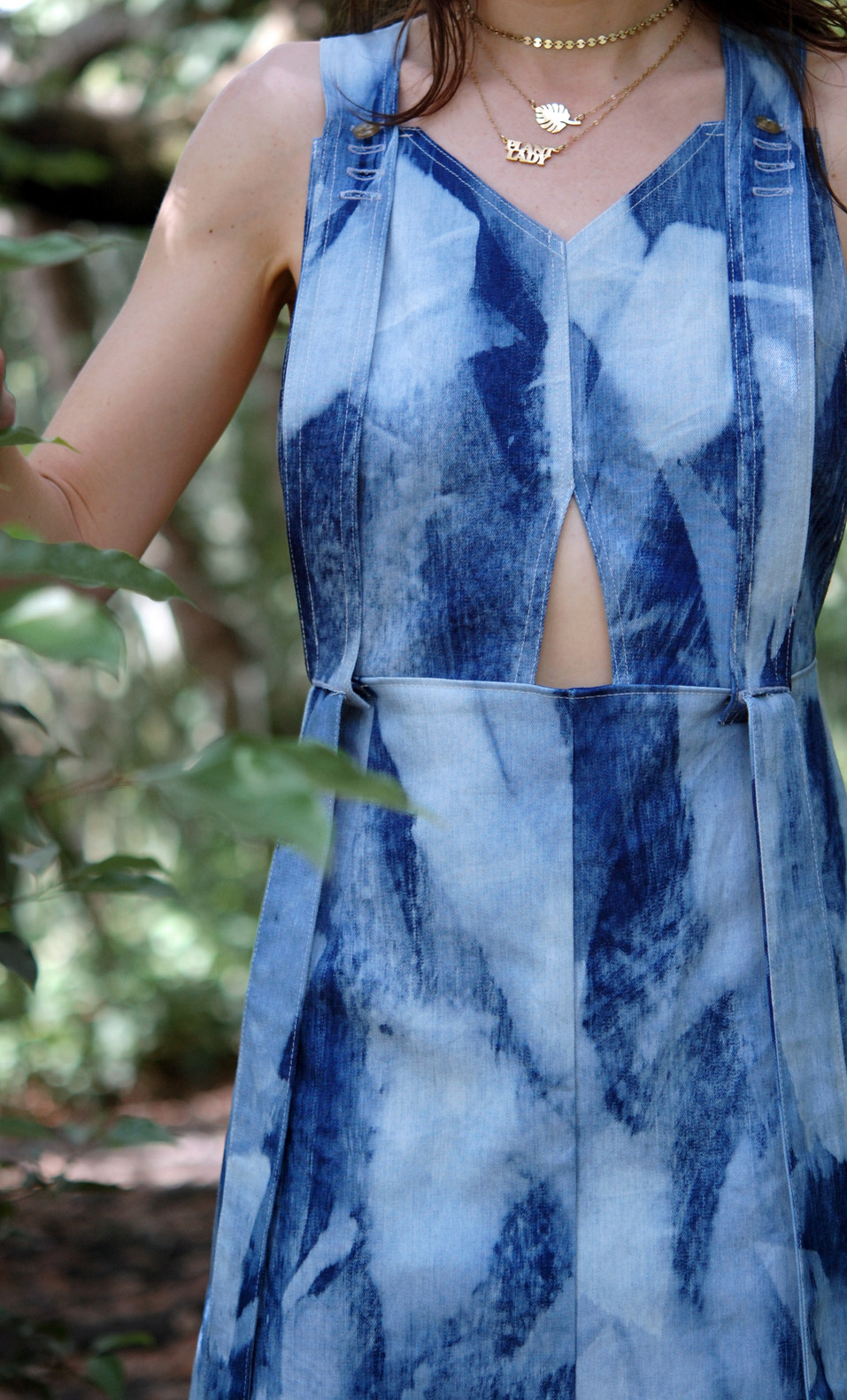 painted blue denim dress