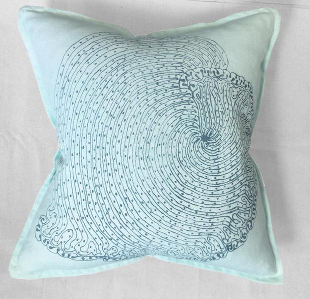 light blue mollusk pillow
