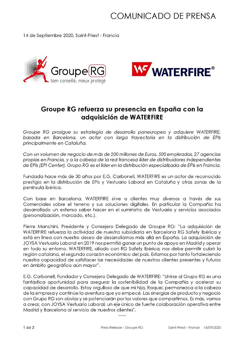 Groupe RG refuerza su presencia en España con la adquisición de WATERFIRE