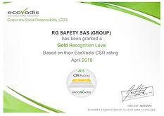 Groupe RG ECOVADIS CSR certificate