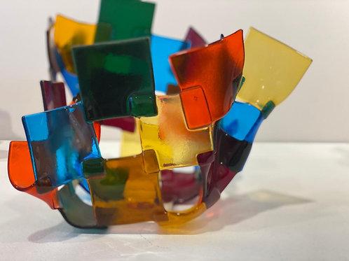 Florero cuadrado de colores