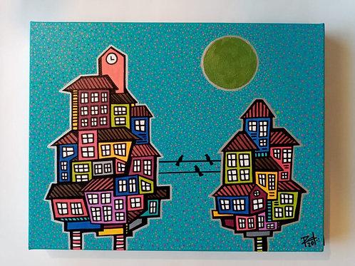 Pintura 3 pájaros negros. Rafaél Gutierrez Nigro