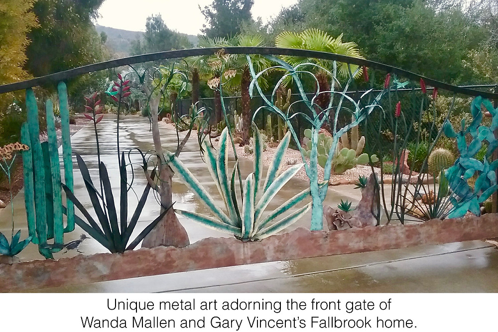 Unique metal art adorning the front gate of Wanda Mallen and Gary Vincent's Fallbrook home.